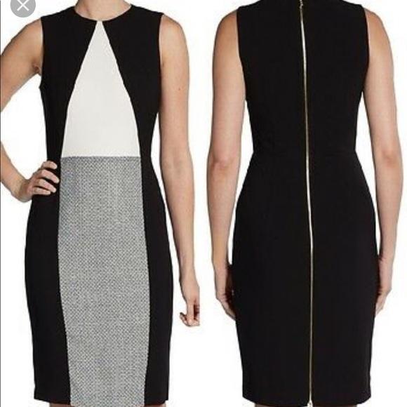 Calvin Klein Dresses & Skirts - Calvin Klein Color Block Tweed Sheath Dress 2